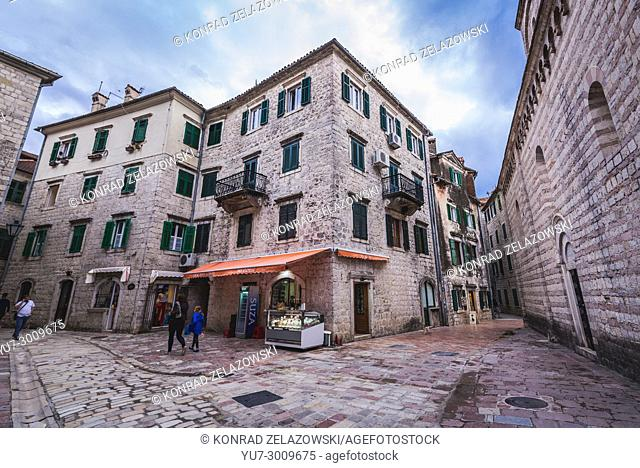 Buildings on the Old Town of Kotor coastal city, located in Bay of Kotor of Adriatic Sea, Montenegro