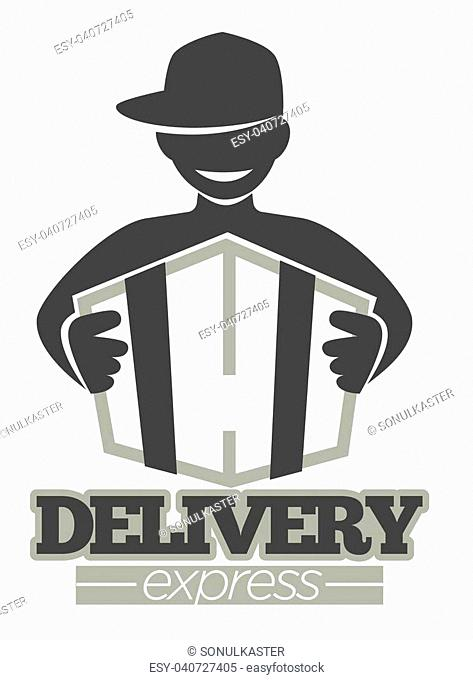 Delivery logo template of delivery man in cap with parcel box. Vector isolated icon for post mail, food or online shop express shipping service