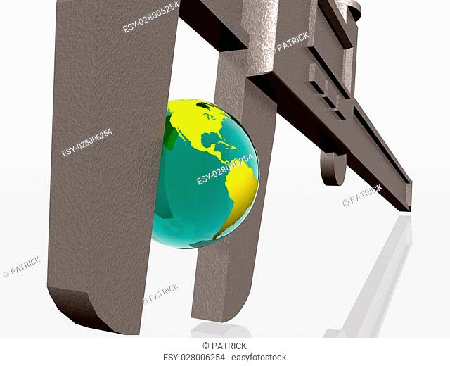 3d illustration of Earth squeezed with a caliper, natural sources, business, measurement concept. Clipping path