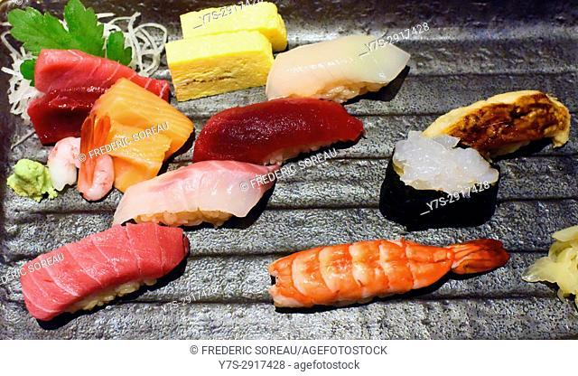 Japanese sushi and sashimi, Japan,Asia