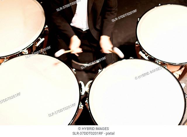 Timpani player in orchestra