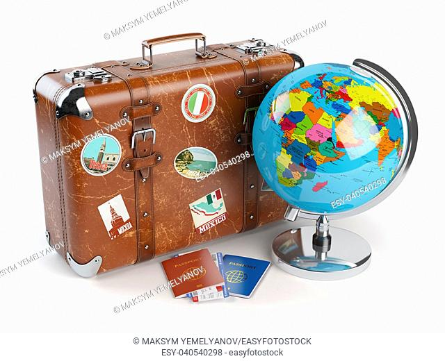 Travel or tourism concept. Old suitcase with stickers, globe and passports with boarding pass tickets isolated on white background. 3d illustration
