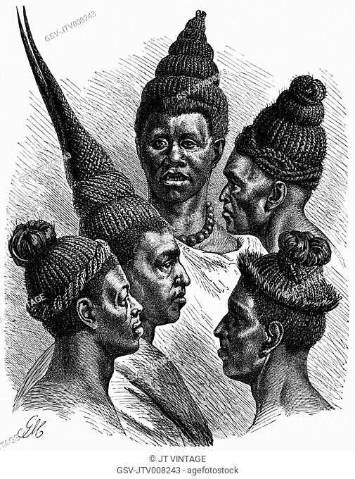 Hair fashions of the Maschukulumbe, Southern Africa, Illustration, 1885