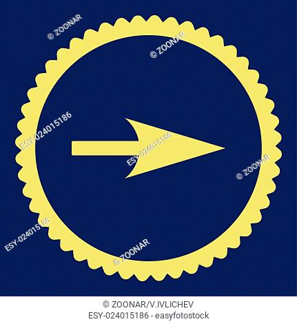 Arrow Axis X flat yellow color round stamp icon