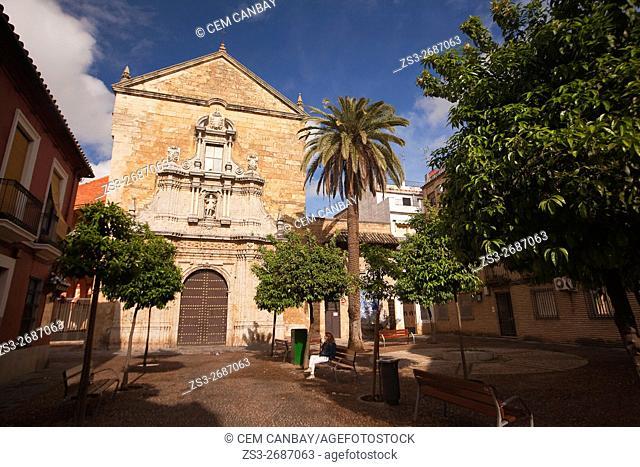 Woman in front of the Compas de San Francisco church, Cordoba, Andalucia, Spain, Europe