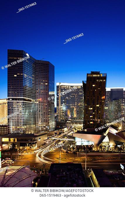 USA, Nevada, Las Vegas, high vantage view of CityCenter, dusk