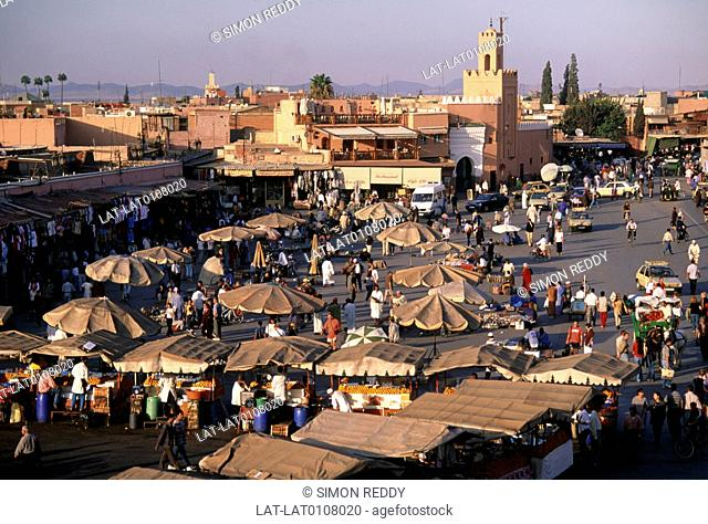 Djemaa el Fna square is a square and market place in Marrakesh's medina quarter old city