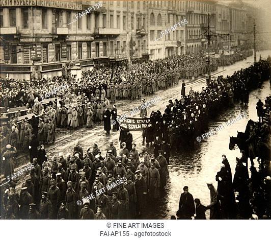 Funeral ceremony of February Revolution Victims in Petrograd. March 1917. Otsup, Pyotr Adolfovich (1883-1963). Photograph. 1917