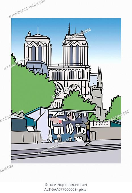 Illustration of a book stall and the Notre-Dame Cathedral in Paris, France