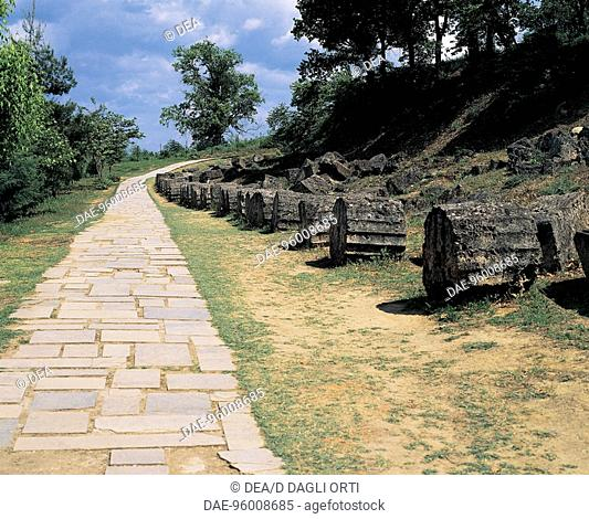 Greece - Central Macedonia - Vergina. Paved way to royal palace (3rd century b.C.)