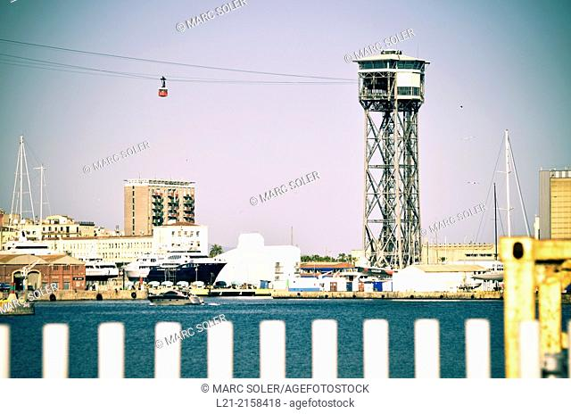 Aerial Tram and Tower. Harbour. Barcelona, Catalonia, Spain