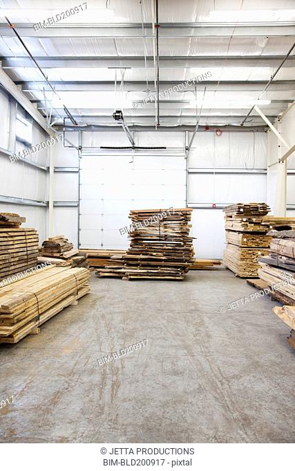 Wooden pallets in factory warehouse
