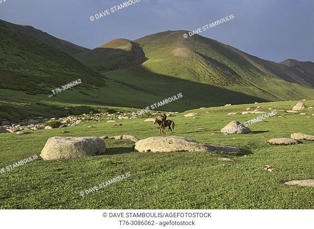 Kyrgyz horserider, Jyrgalan Valley, Kygyzstan