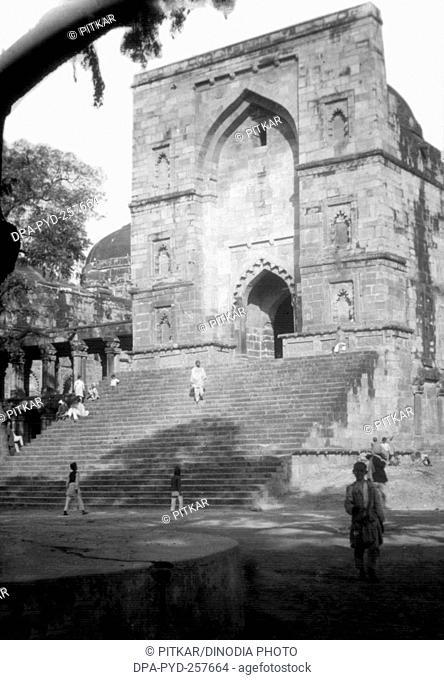 old vintage lantern slide of Jami Masjid, Jaunpur, Uttar Pradesh, Indian, Asia