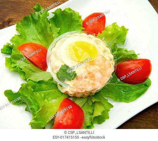 aspic with shrimps and egg