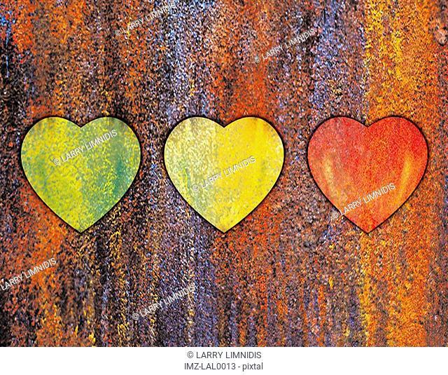 A textured illustration of three hearts