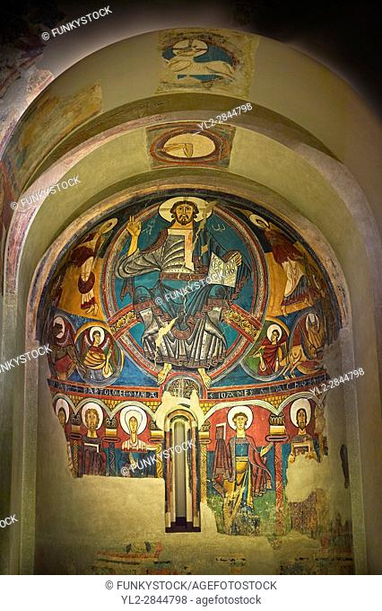 The Romanesque Apse of Sant Clement de Taull. . Around 1123, Romanesque frescoes from the Church of Sant Clement de Taull, Vall de Boi,Alta Ribagorca, Spain