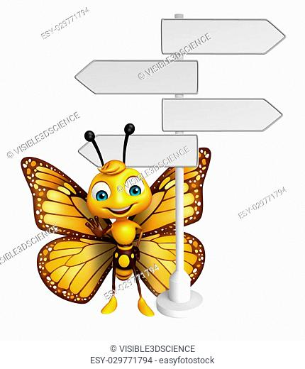 3d rendered illustration of Butterfly cartoon character with way sign