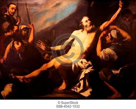 Martyrdom of Saint Bartholomew, by Jose de Ribera, Museo de la Real Academia de Bellas Artes de, Royal Academy of, San Fernando, Madrid, Spain, Europe, EU