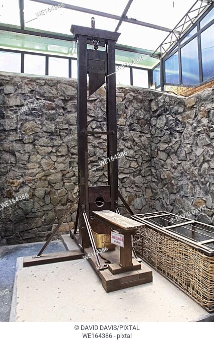 The guillotine are lasting reminders of the French occupation of Vietnam, in the War Remnants Museum, Ho Chi Minh City Vietnam
