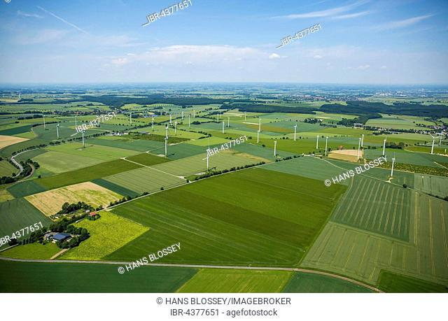 Aerial view, wind turbines north of Belecke, Warstein, Sauerland, North Rhine-Westphalia, Germany