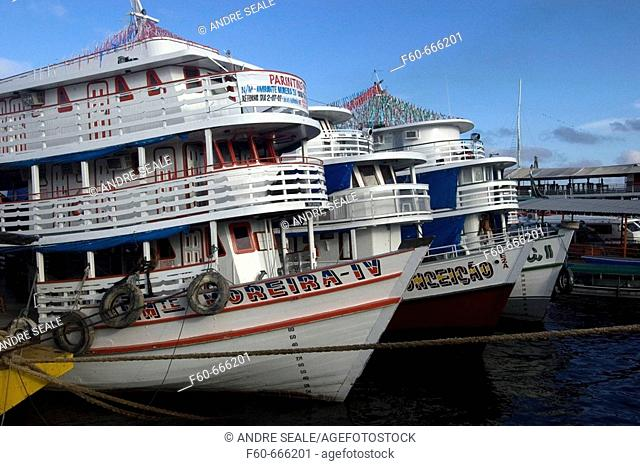 River boats lined up at  the main port, Manaus, Amazonas, Brazil