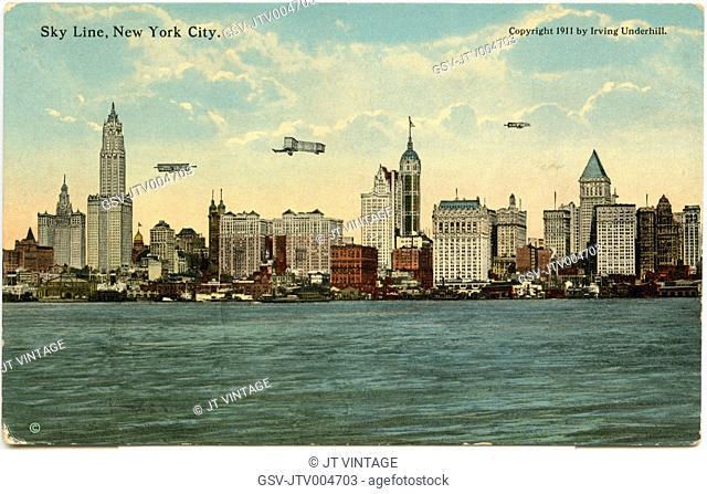 New York City Skyline from Jersey City, Postcard, circa 1915
