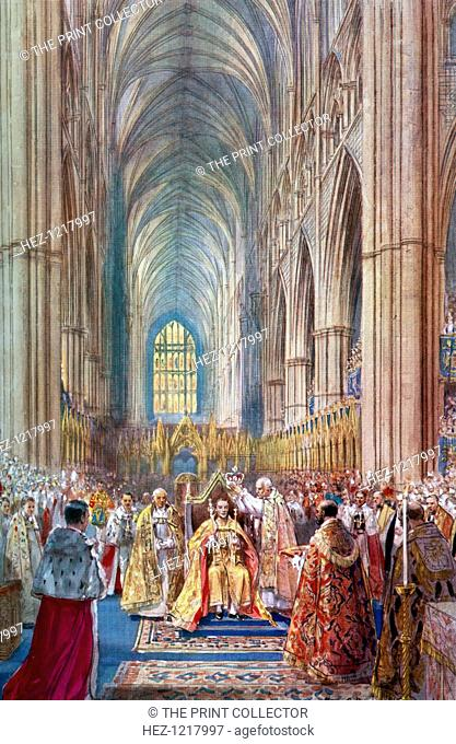 'The Act of Crowning', George VI's coronation ceremony, Westminster Abbey, London, 12 May 1937. A coloured plate from the Illustrated London News: Coronation...