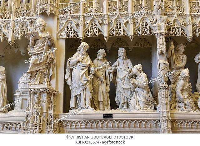 La Cananeenne, scene sculptee, par Thomas Boudin en 1611, ornant la cloture ou tour du choeur de la Cathedrale Notre-Dame de Chartres,Eure et Loir,region Centre