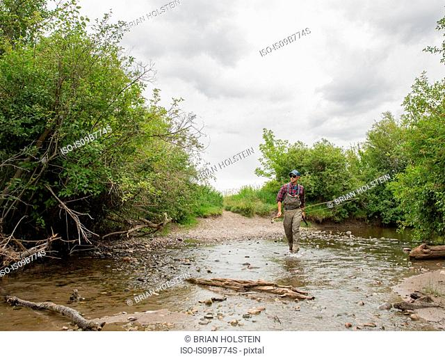 Man in river, Clark Fork, Montana and Idaho, US