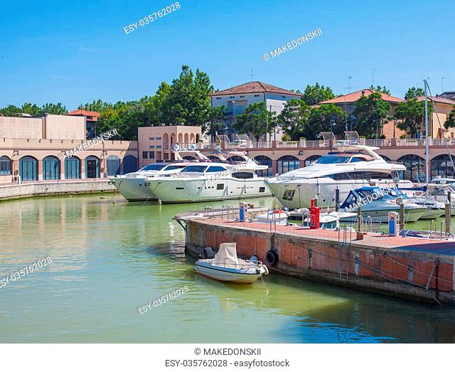 Bay of Angels Vallugola place, view of the canal, motor yachts, dock, pier