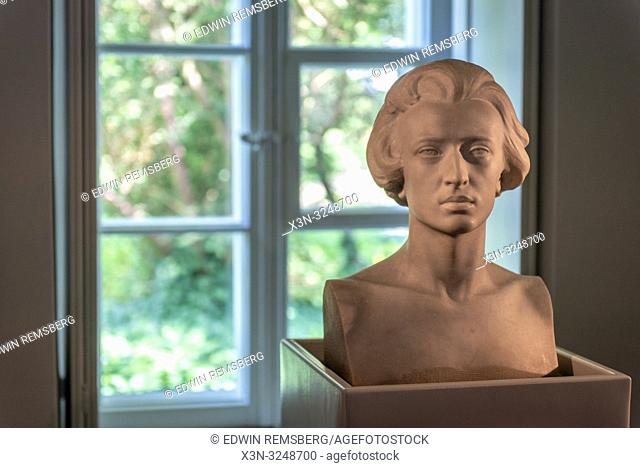 Marble bust of Polish Composer and pianist Fryderyk Chopin against a window at the Fryderyk Chopin Museum. Zelazowa Wola, Masovian Voivodeship, Poland