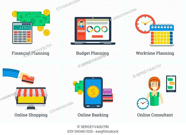 Vector six square business flat concepts of online services and planning process. Financial, worktime and budget planning and shopping