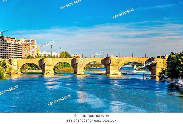 Puente de Piedra in Zaragoza - Aragon, Spain