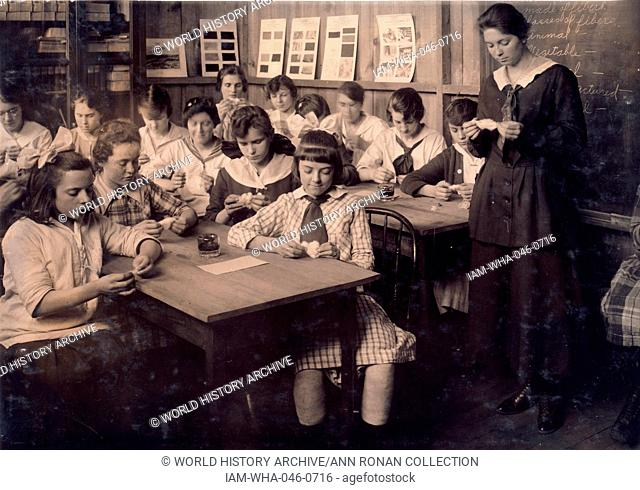 Continuation School group at Ipswich Mills; South Boston; studying by Lewis Wickes Hine 1874-1940
