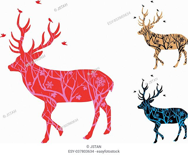 Christmas deer with winter tree pattern and birds, vector illustration