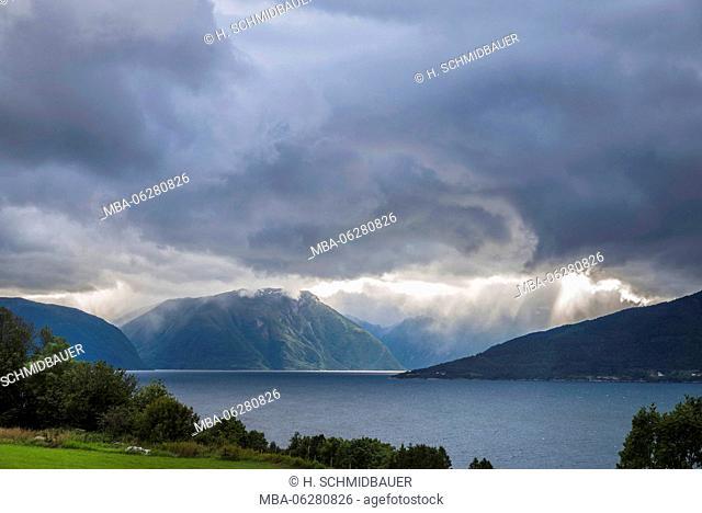 Sognefjord, View from Vangsnes in Fjaerlandsfjord, Norway, Scandinavia, Europe