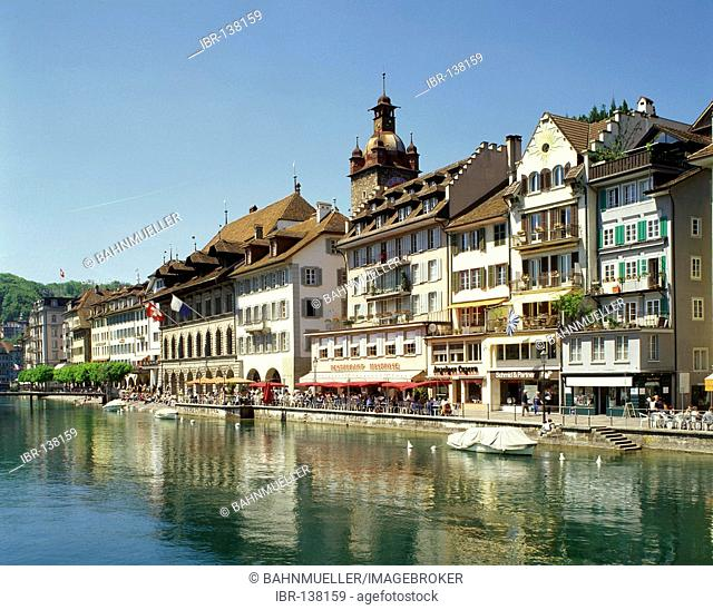 Lucerne canton of Lucerne Switzerland old town above the river Reuss