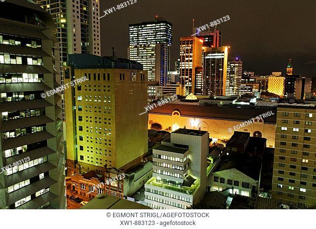 skyscrapers and historic buildings in downtown Brisbane, Queensland, Australia