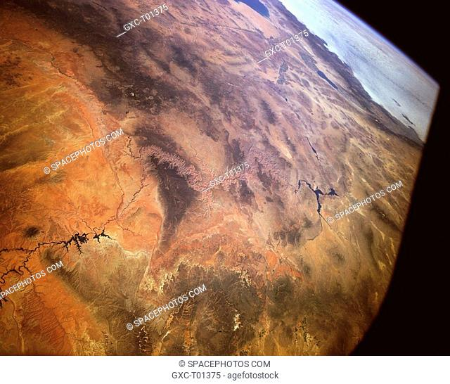 The Grand Canyon can be seen near the center of this southwest-looking, high-oblique photograph. This panoramic view of the southwestern United States shows the...