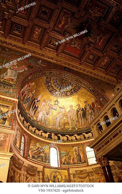 inside santa maria maggiore basilica church in trastevere, rome, italy