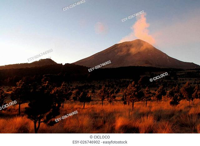 Active Popocatepetl volcano near Puebla in Mexico