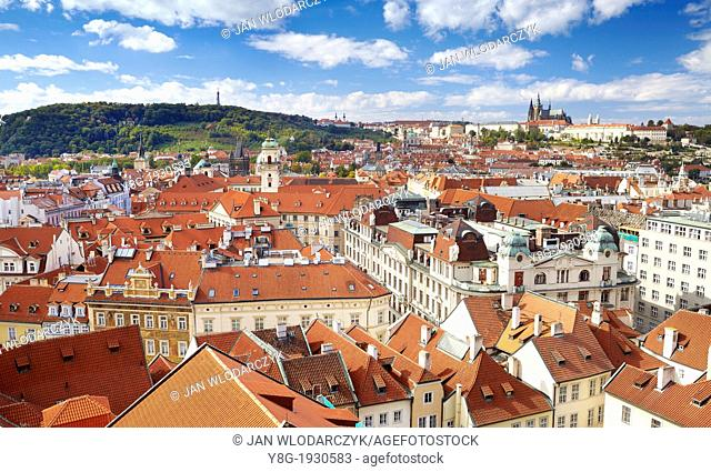 Prague - an ariel view of the Old Town Square, Czech Republic, Europe