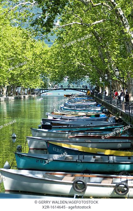 Rowing boats on the tree-lined Canal du Vassé in Annecy, France