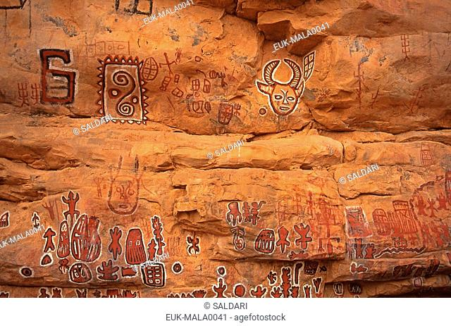Circumcision cave and rock paintings in Songo village on the Dogon plateau,Mali