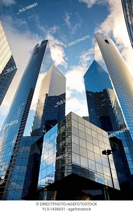 Paris, France- Contemporary Architecture, Societe Generale Banque Building, in La Défense Commercial Center