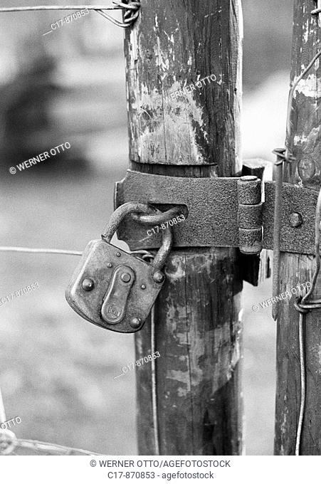 Seventies, black and white photo, symbolic, padlock at a wooden fence, metal fittings