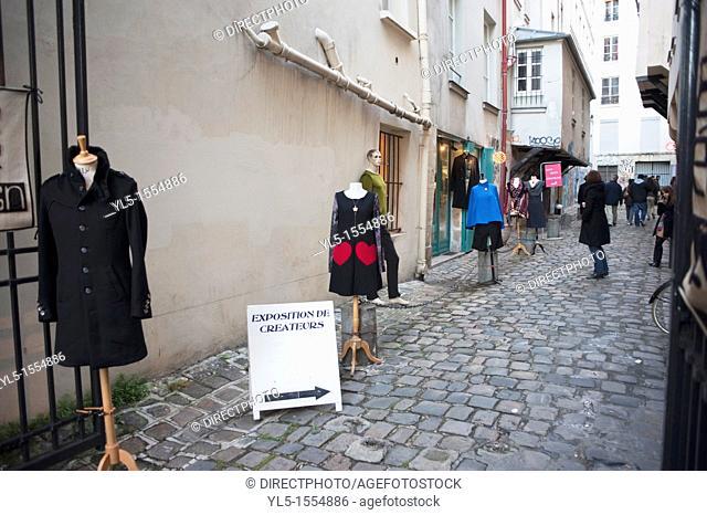 Paris, France, Street Scene, Clothing shops Alley in Le Marais District