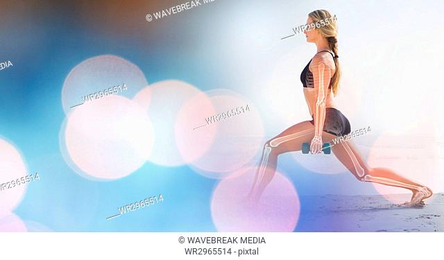 Woman working out on beach and blue bokeh transition