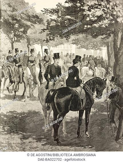 Horses and riders at Rotten Row, London, United Kingdom, illustration from the magazine The Graphic, volume XXVI, no 658, July 8, 1882